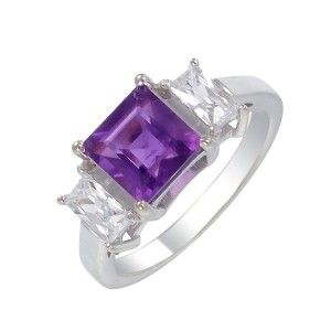 9ct White Gold 7mm Square Amethyst & CZ Ring